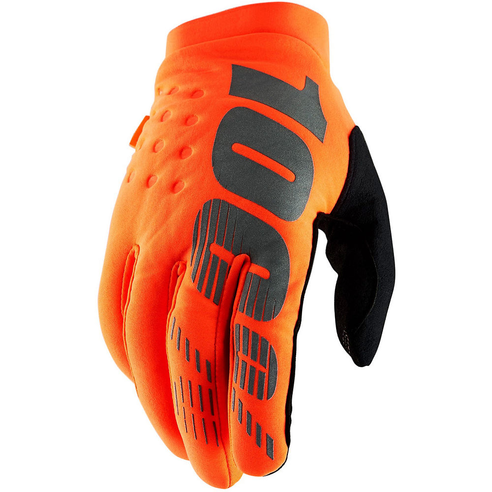 100% Brisker Gloves - Fluo Orange-Black - XL, Fluo Orange-Black