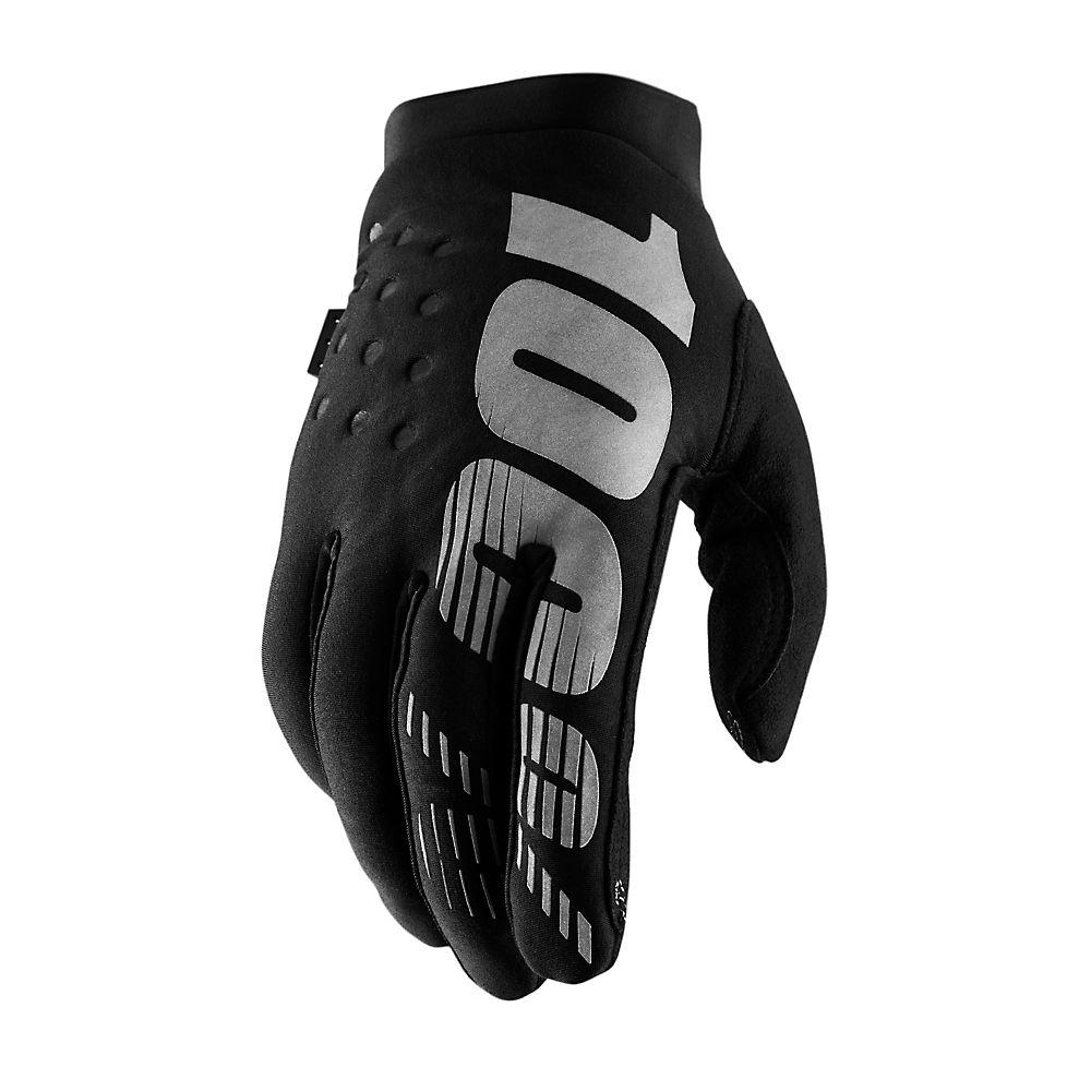 100% Brisker Youth Gloves  - Black-Grey, Black-Grey