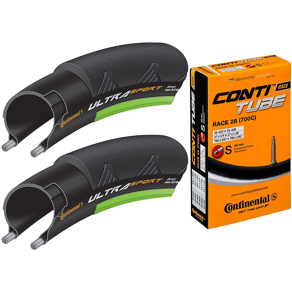 Image of Continental Ultra Sport II Green 23c Tyres + Tubes - Black - Green - 20c-25c 42mm Presta, Black - Green