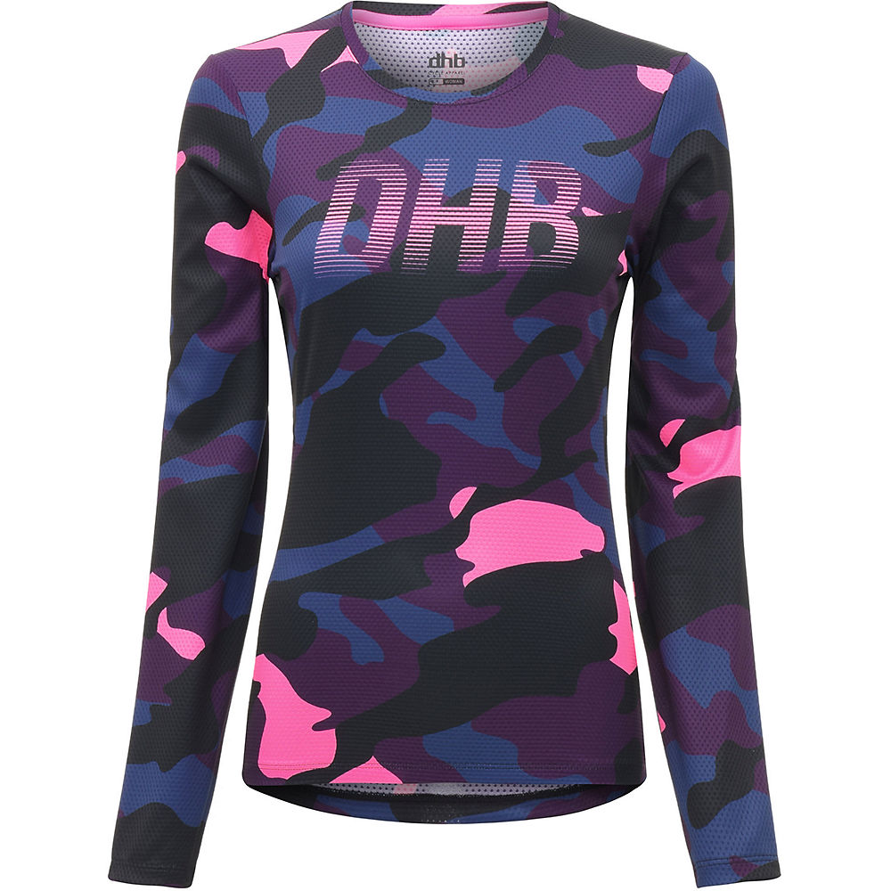 dhb MTB Womens LS Trail Jersey Camo Pink Camo UK 12, Pink Camo