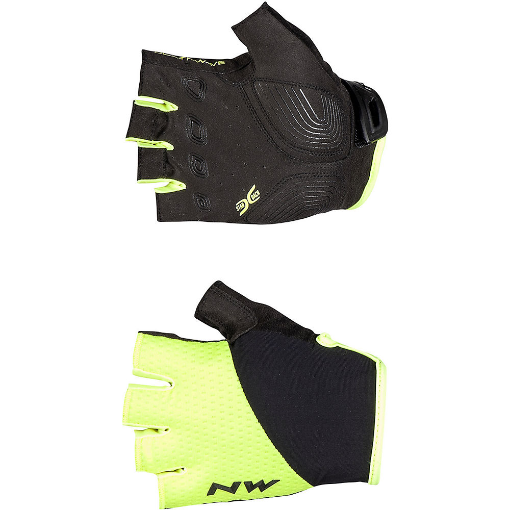 Northwave Fast Short Finger Gloves  - Yellow Fluo-black - M  Yellow Fluo-black
