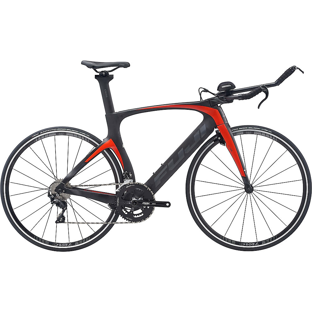 Fuji Norcom Straight 2.3 TT Bike 2020 - Satin Carbon - Red Orange - 55cm (21.75
