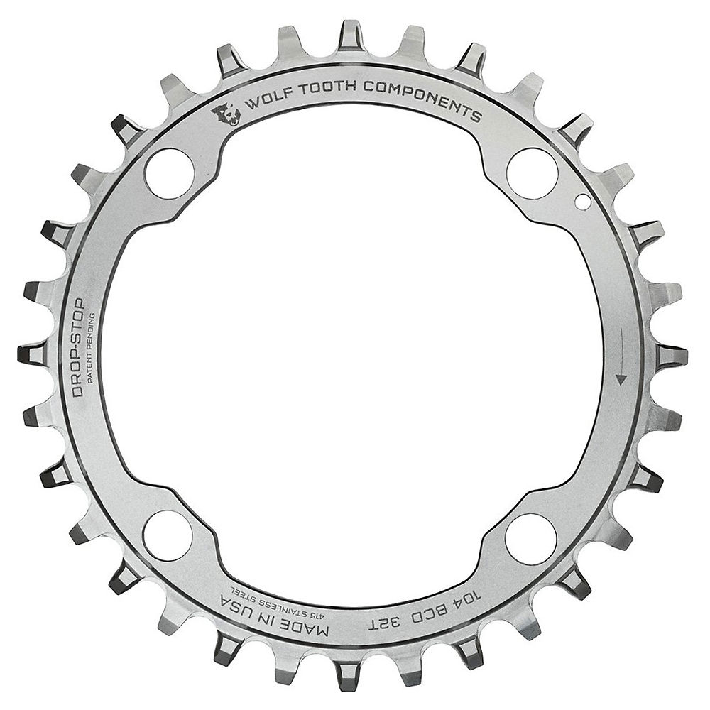 Image of Wolf Tooth 104 BCD Stainless Steel Chainring - Argent - 4-Bolt, Argent