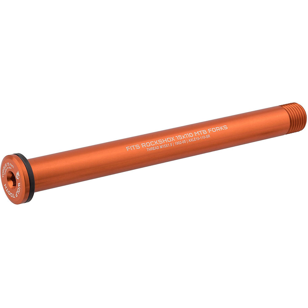 Image of Wolf Tooth Axle for Rockshox and Fat Forks - Orange - 110mm, Orange