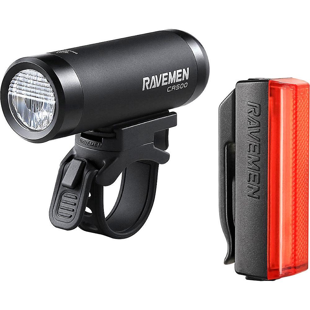 Image of Ravemen CR500-TR20 USB Front and Rear Light Set - Matt-Gloss Black, Matt-Gloss Black