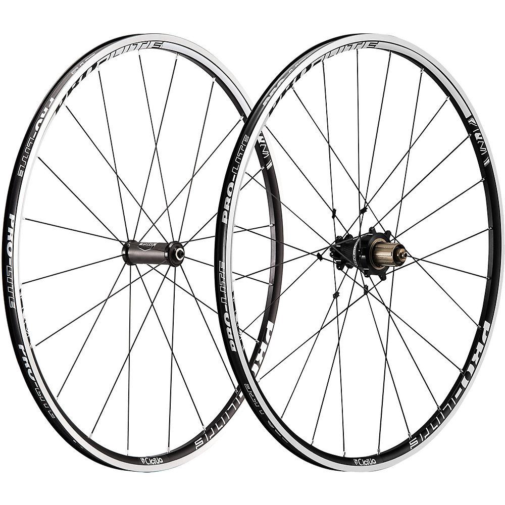 Image of Pro-Lite Cicilia A21W Alloy Road Wheelset - Noir - Blanc - Shimano, Noir - Blanc