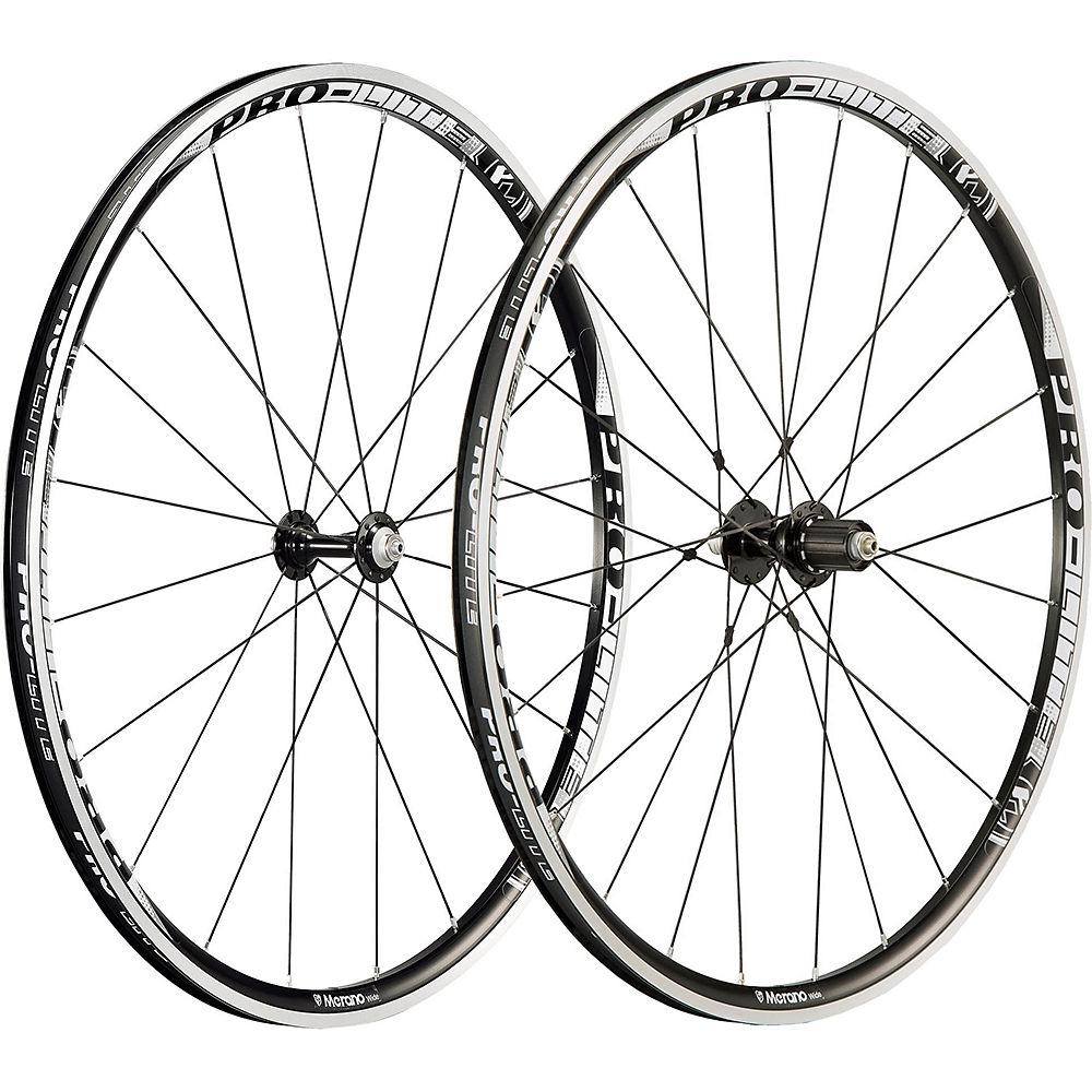 Image of Pro-Lite Merano A25W Alloy Road Wheelset - Noir - Blanc - Shimano, Noir - Blanc