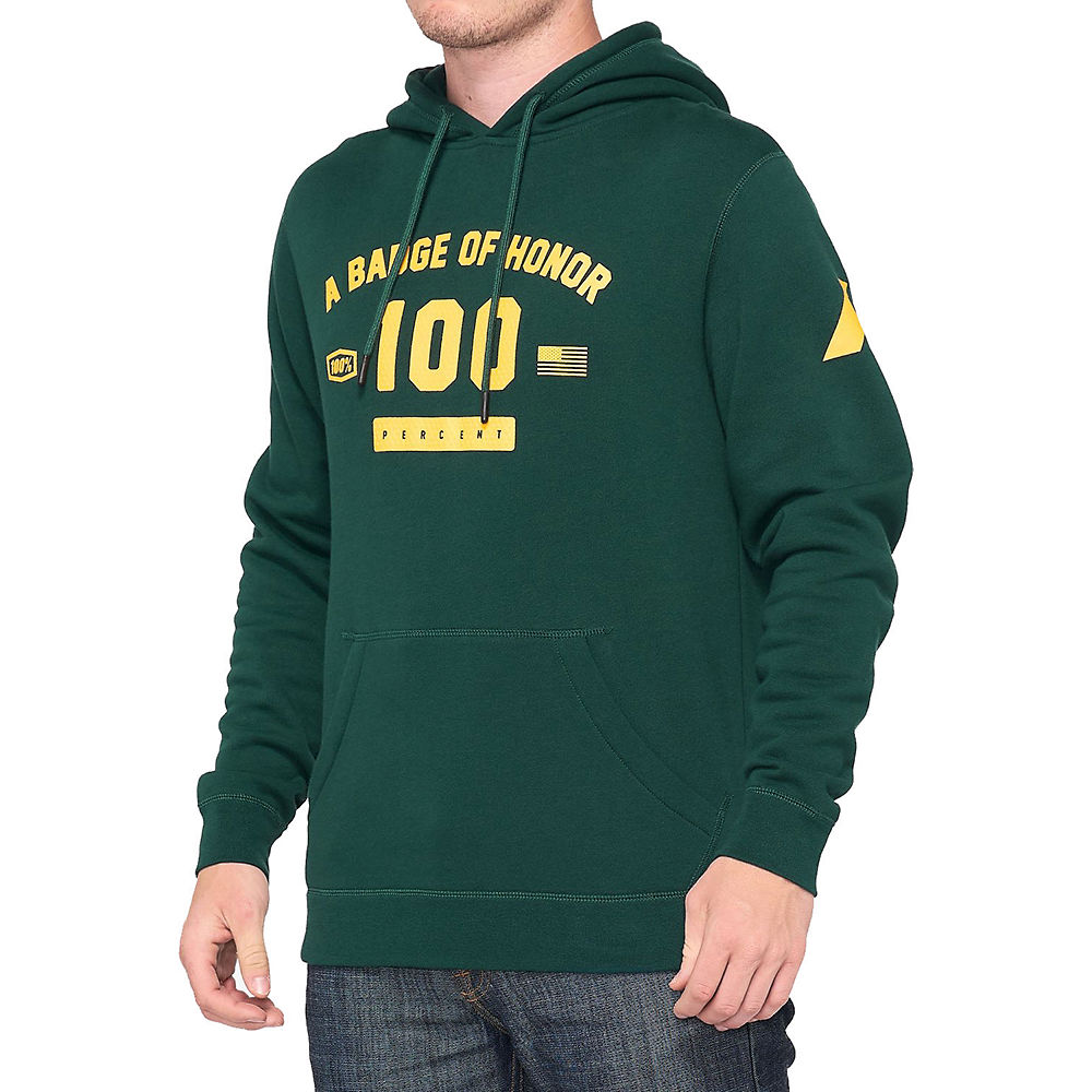 100% Tribute Hooded Pullover Sweatshirt  - Dark Green - M  Dark Green