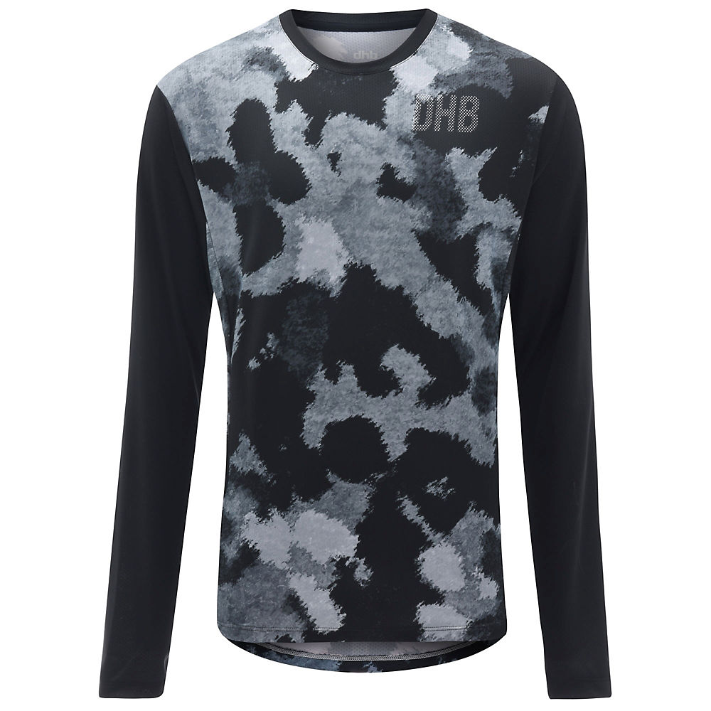 dhb MTB Long Sleeve Trail Jersey - Camo - Black-Grey - XL, Black-Grey