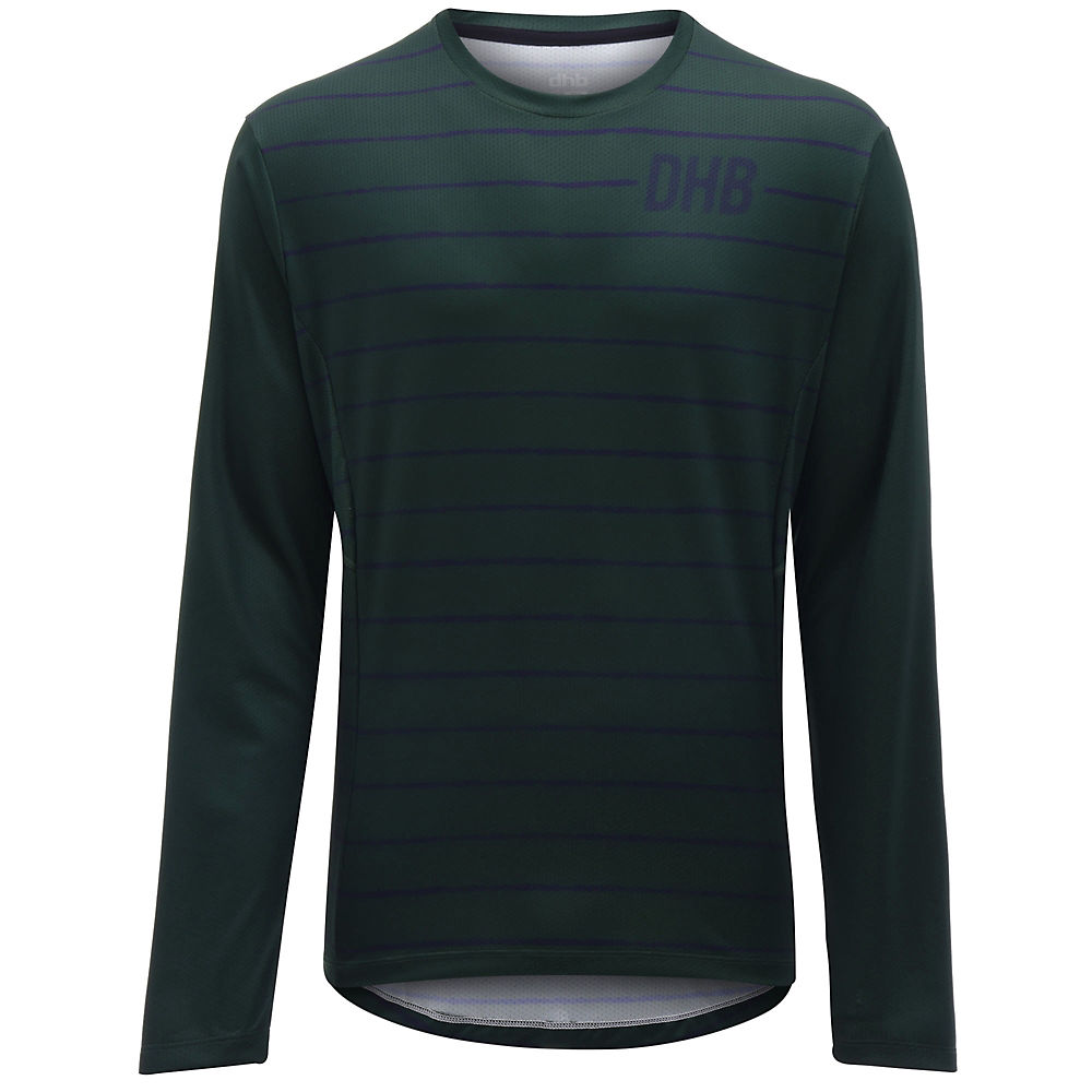 dhb MTB Long Sleeve Trail Jersey - Stripe - Khaki - XL, Khaki