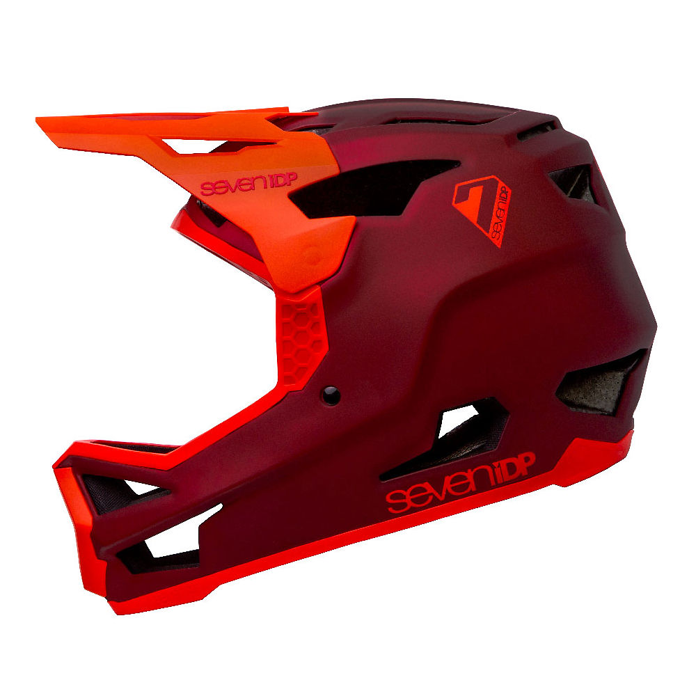 Image of 7 iDP Project 23 GF Full Face Helmet 2020 - Matte Dark Red-Gloss Thruster Red - XL, Matte Dark Red-Gloss Thruster Red