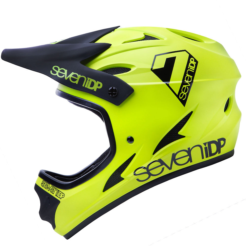 Image of 7 iDP M1 Full Face Helmet 2020 - Matte Acid Yellow-Black, Matte Acid Yellow-Black