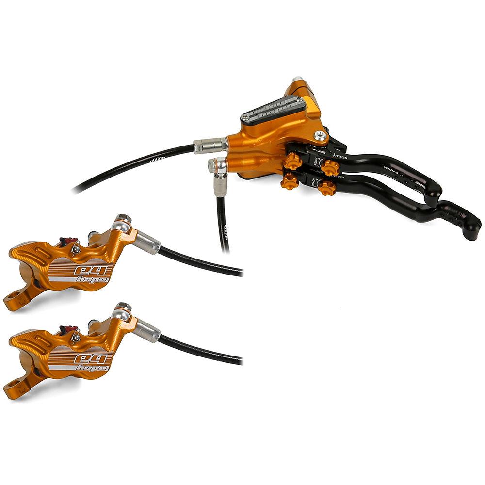 Hope Tech 3 E4 DUO Disc Brake-No Rotor – Orange – Right Hand, Orange