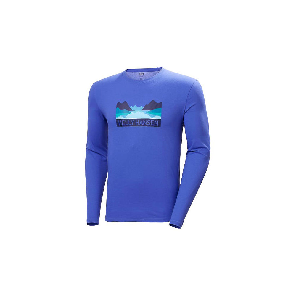 helly hansen nord graphic long sleeve t-shirt  - xxl - blue