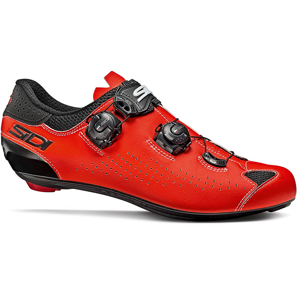 Sidi Genius 10 Road Shoes - Black-Red Fluo - EU 47.3, Black-Red Fluo