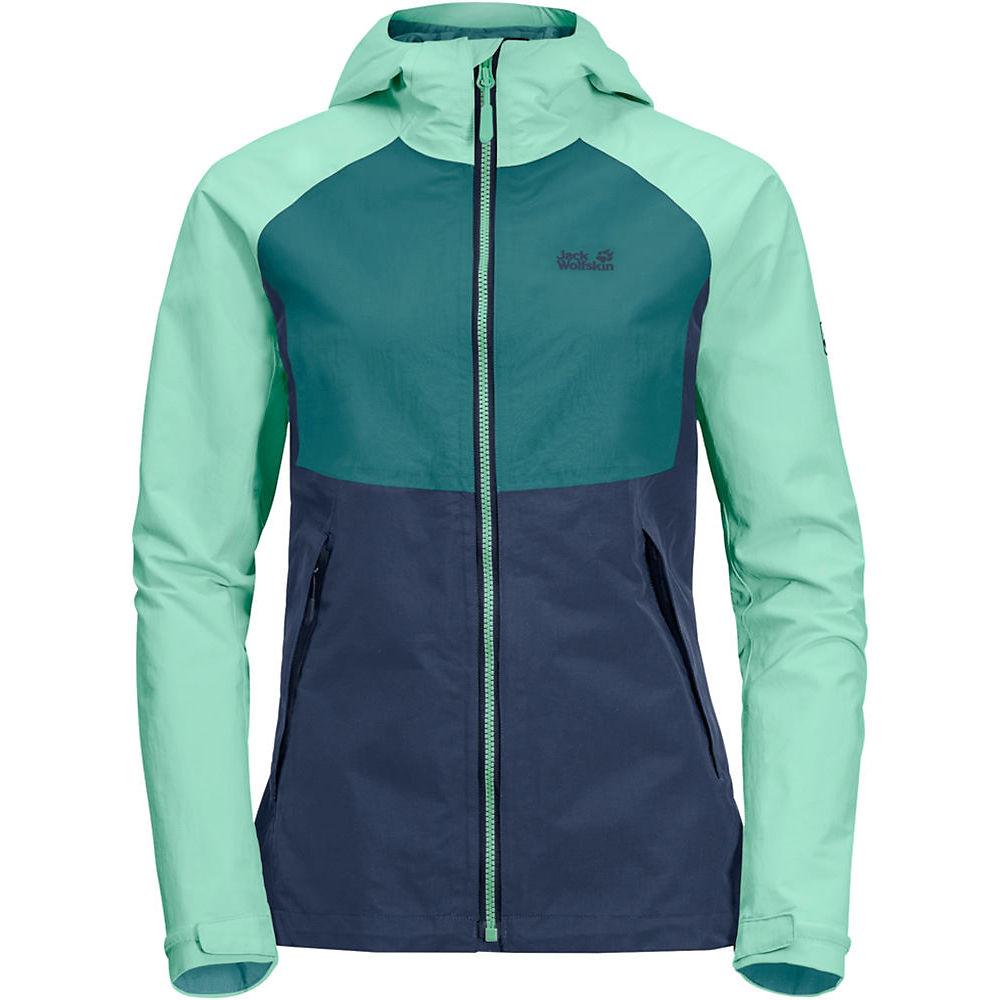 Jack Wolfskin Women's Mount ISA Waterproof Jacket  – Dark Indigo-Emerald Green – XS, Dark Indigo-Emerald Green