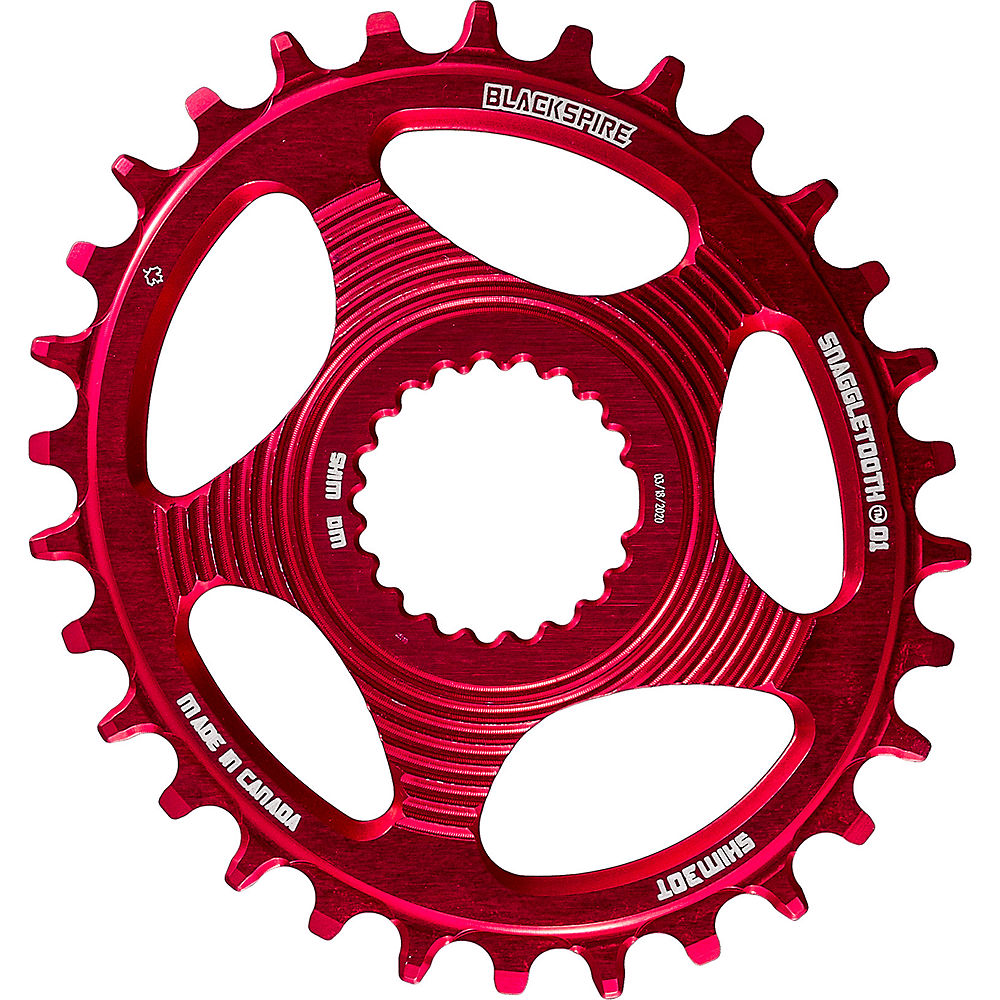 Blackspire Snaggletooth Oval Shimano Chainring - Red - Direct Mount, Red