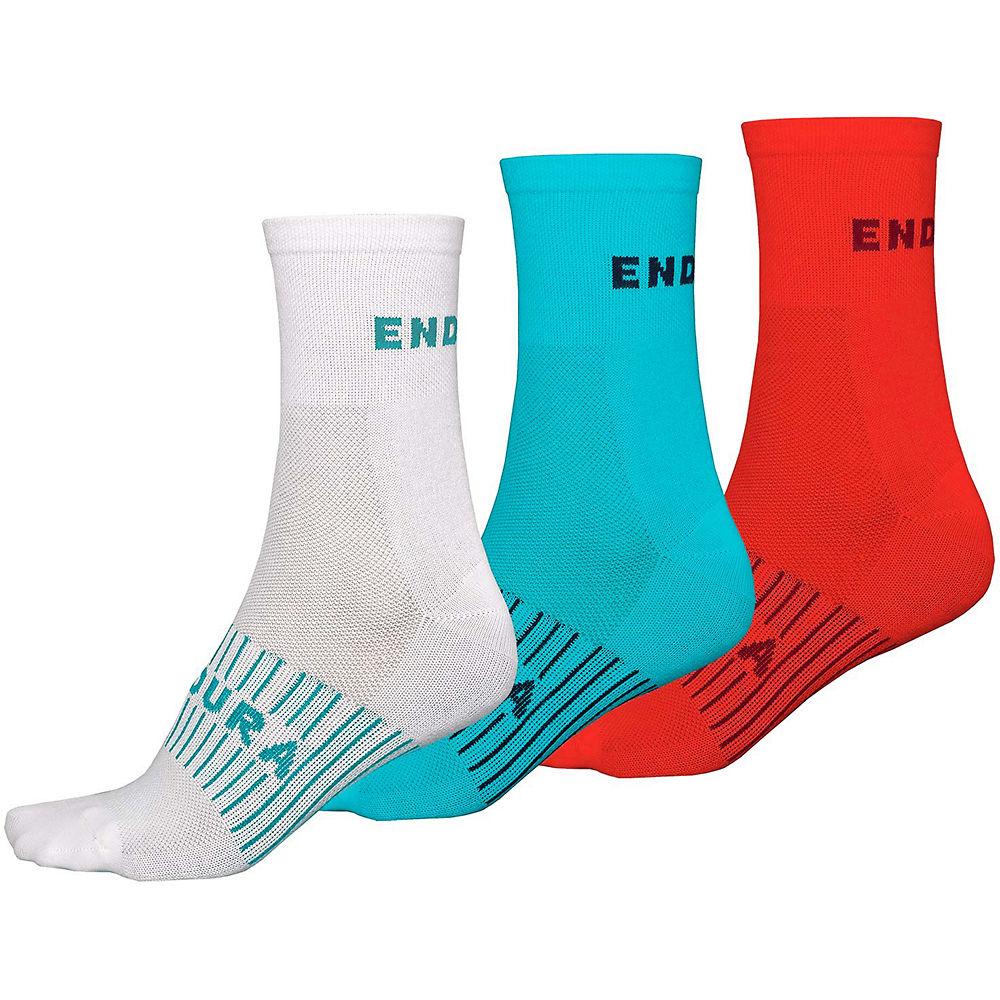 Endura Womens Coolmax Race Socks (3-pack) - White-blue-red - One Size  White-blue-red
