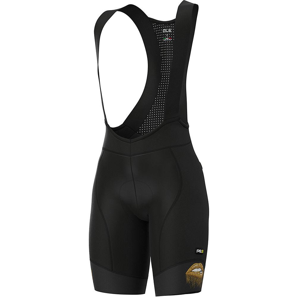 Alé Women's Graphics Lips Summer Bib Shorts  – Black-Gold, Black-Gold