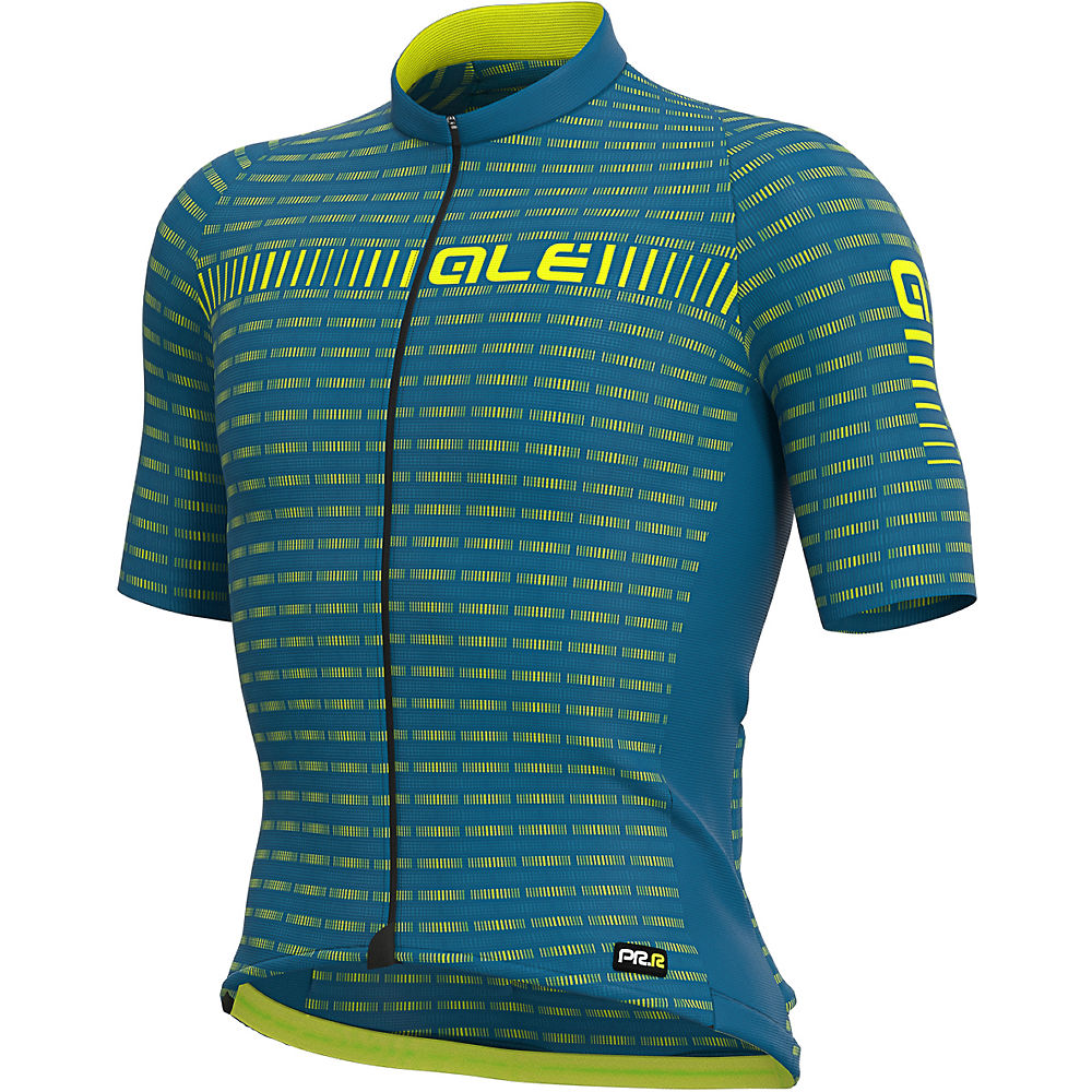 Alé Graphics PRR Green Road Jersey - Azores Blue-Fluo Yellow - XXL, Azores Blue-Fluo Yellow