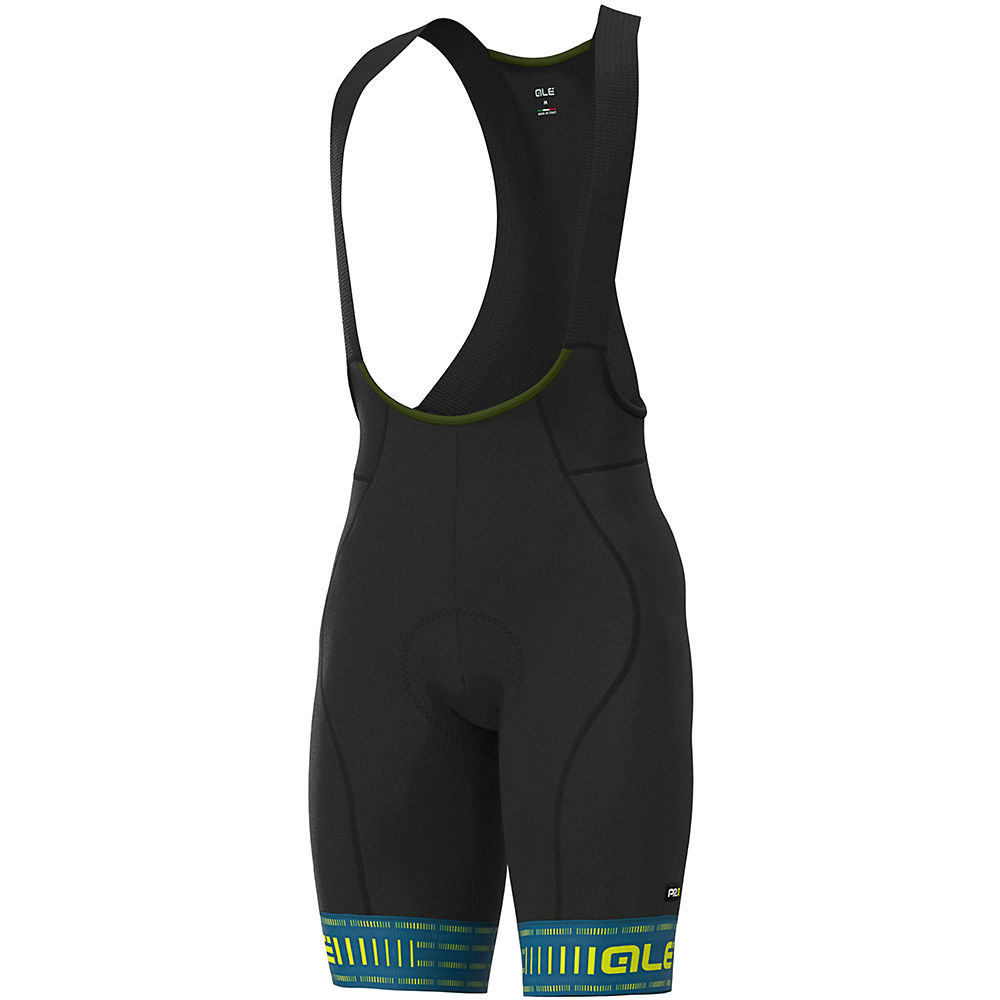 Alé Graphics PRR Green Road Bib Shorts - Azores Blue-Fluo Yellow - XL, Azores Blue-Fluo Yellow