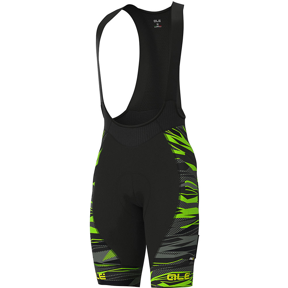 Alé Graphics PRR Rock Bib Shorts - Black-Fluro Green - XS, Black-Fluro Green