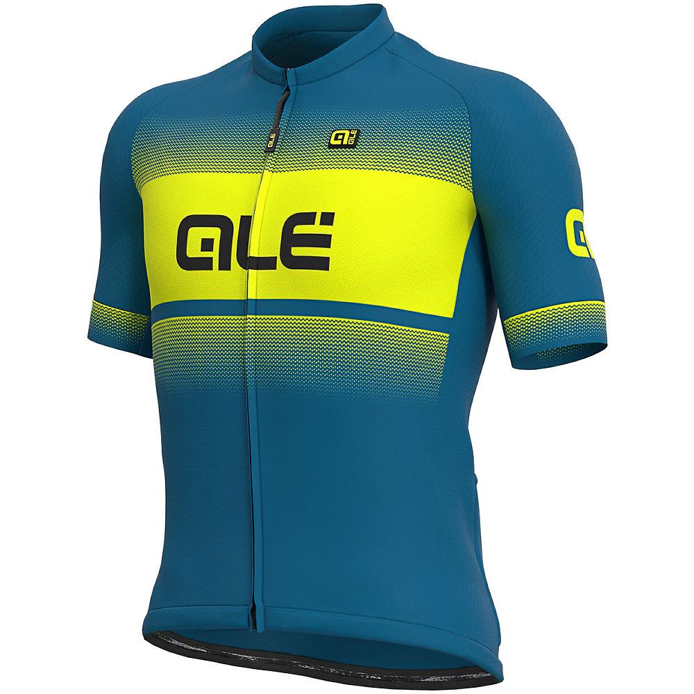 Alé Solid Blend Jersey  – Azores Blue-Fluo Yellow, Azores Blue-Fluo Yellow