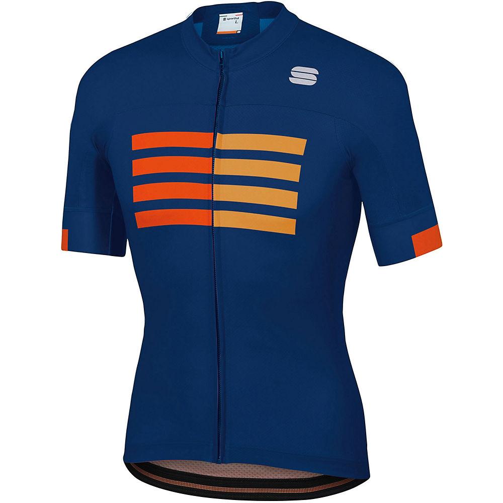 Sportful Wire Jersey  – Blue Twilight-Fire Red-Gold – XXXXL, Blue Twilight-Fire Red-Gold