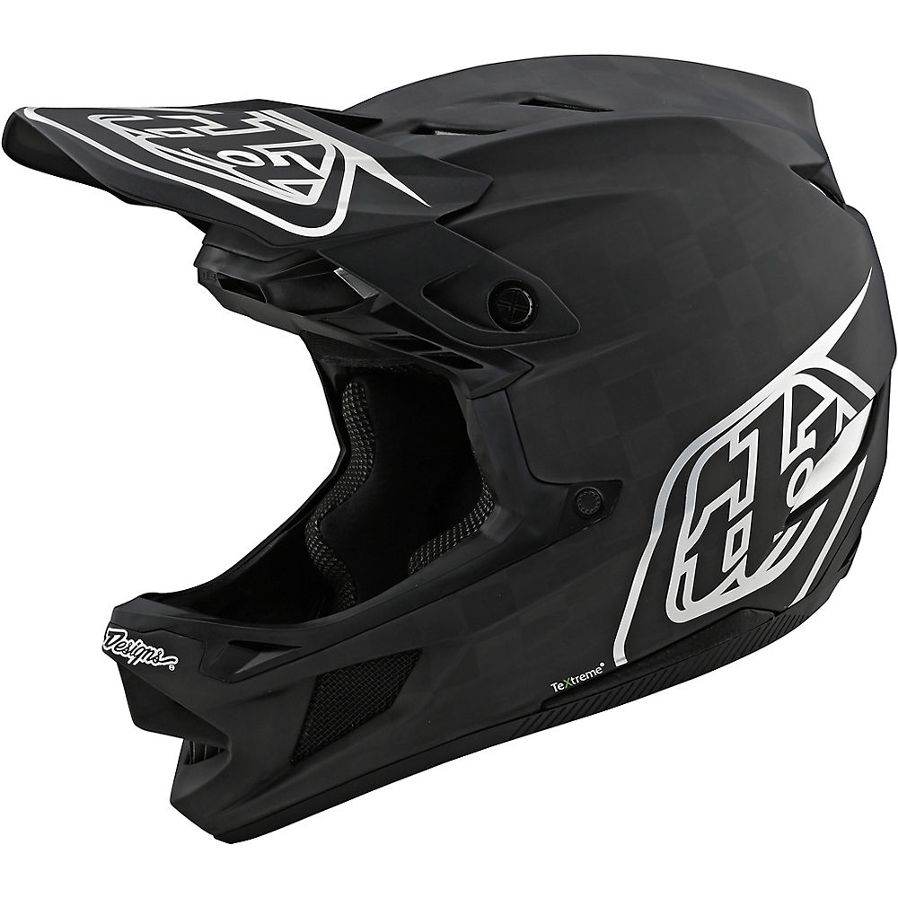 Troy Lee Designs D4 Carbon Stealth Helmet  - Negro-Plata - XL, Negro-Plata