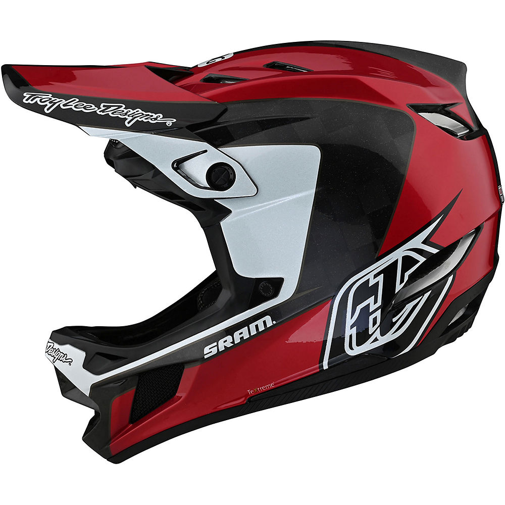 Troy Lee Designs D4 Carbon Stealth Helmet  - Corsa Sram Red - XL, Corsa Sram Red