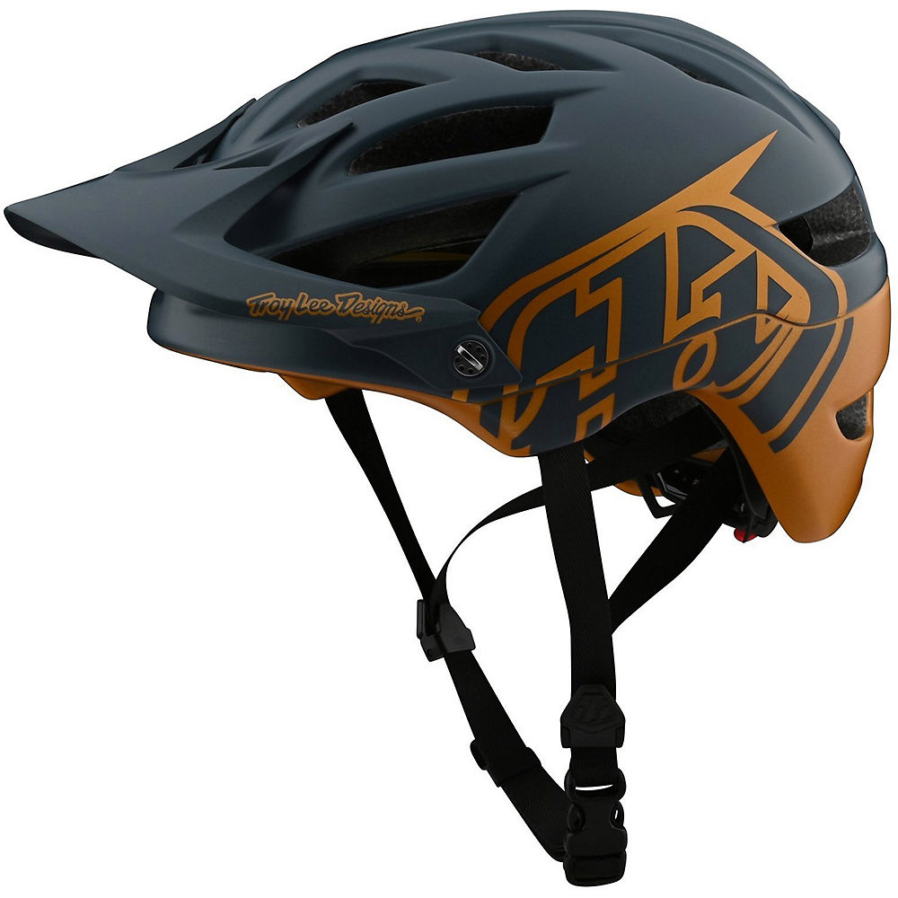 Troy Lee Designs Youth A1 Mips Classic Helmet  - Grey-Gold - One Size, Grey-Gold
