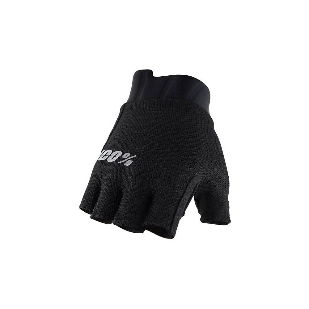 100% Exceeda Gel Short Finger Glove  - Black  Black