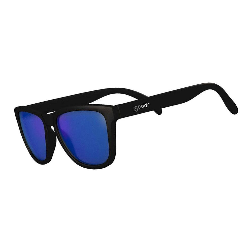 Image of Goodr OG's Insomniacs Cataracts Sunglasses - Black w- Blue Lens, Black w- Blue Lens