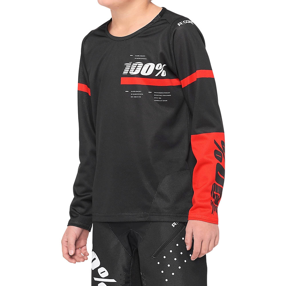 100% R-Core Youth Jersey  - BLACK-RED - XL, BLACK-RED