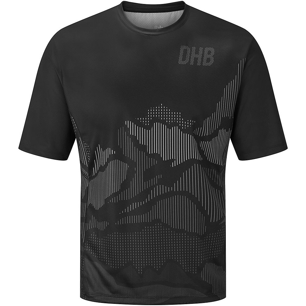 Dhb Mtb Short Sleeve Trail Jersey - Line  - Black-grey - Xl  Black-grey