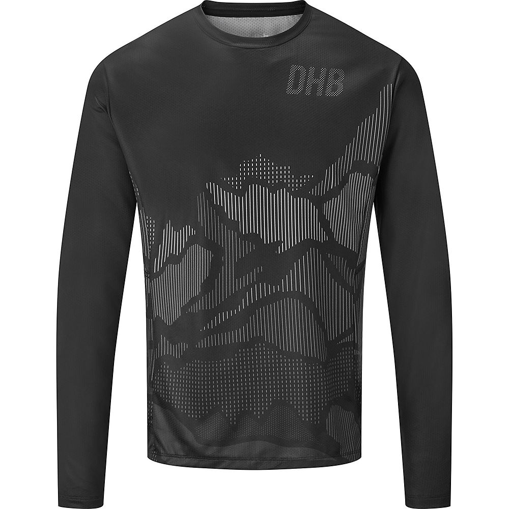 dhb MTB Long Sleeve Trail Jersey - Line  - Black-Grey, Black-Grey