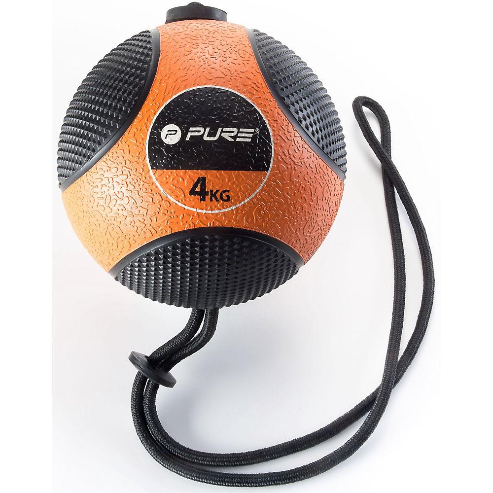 Image of Pure2Improve Medicine Ball with Rope (4kg) - Orange - Noir, Orange - Noir