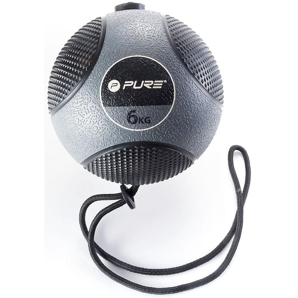 Image of Pure2Improve Medicine Ball with Rope (6kg) - Gris - Noir, Gris - Noir