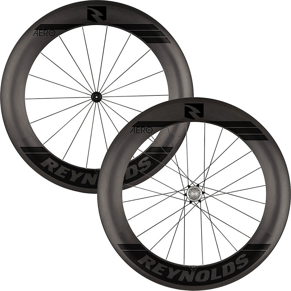 Image of Reynolds Aero 80 Black Label Carbon Road Wheelset - Noir - Shimano, Noir