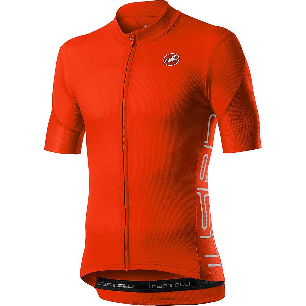 Castelli Entrata V Short Sleeve Jersey - Fiery Red - Xl  Fiery Red