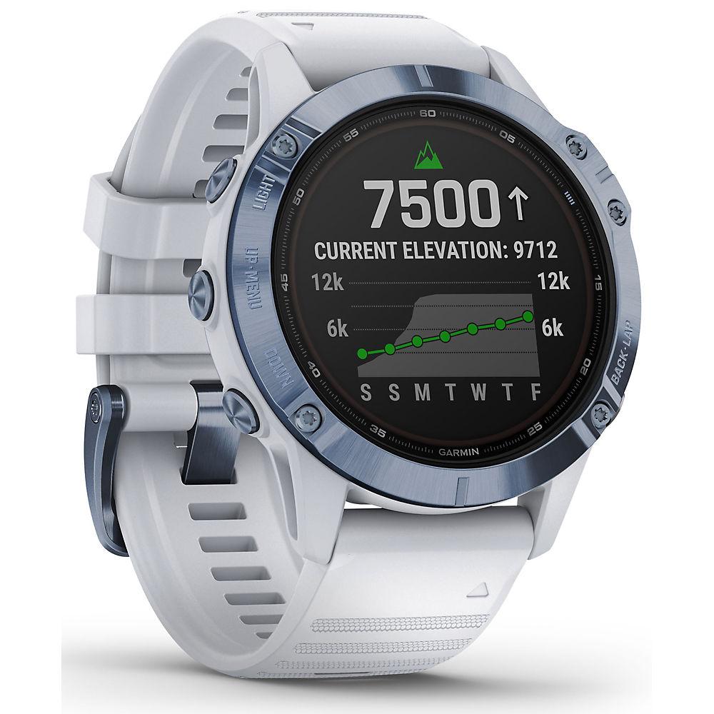 Garmin Fenix 6 Pro Solar GPS Watch Titanium - Mineral Blue with Whitestone Band, Mineral Blue with Whitestone Band