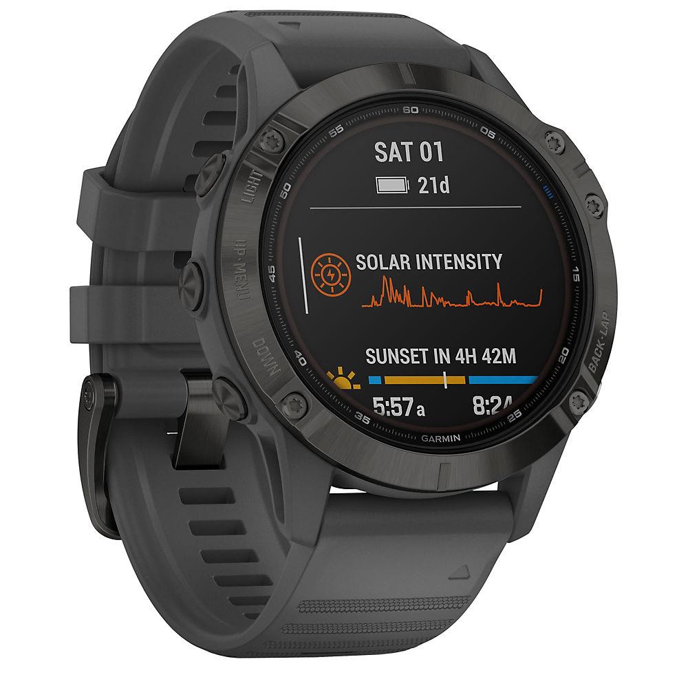 Garmin Fenix 6 Pro Solar GPS Watch - Black with Slate Grey Band, Black with Slate Grey Band