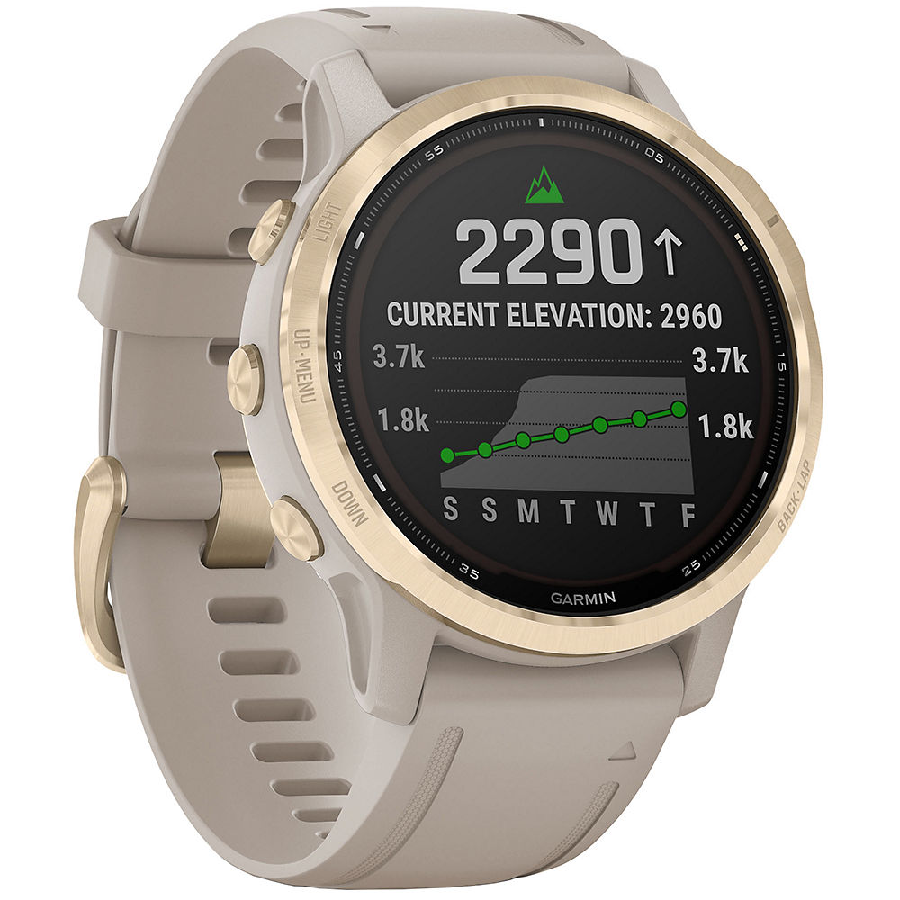 Garmin Fenix 6S Pro Solar GPS Watch - Light Gold with Sand Band, Light Gold with Sand Band