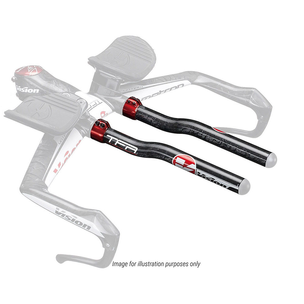 Vision R-bend Carbon Extensions - Red - 300mm  Red