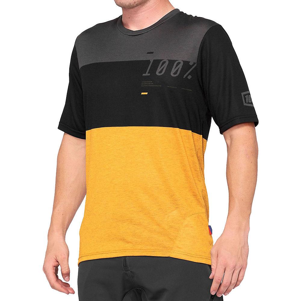 100% Airmatic MTB Jersey  - Black-Mustard - XL, Black-Mustard