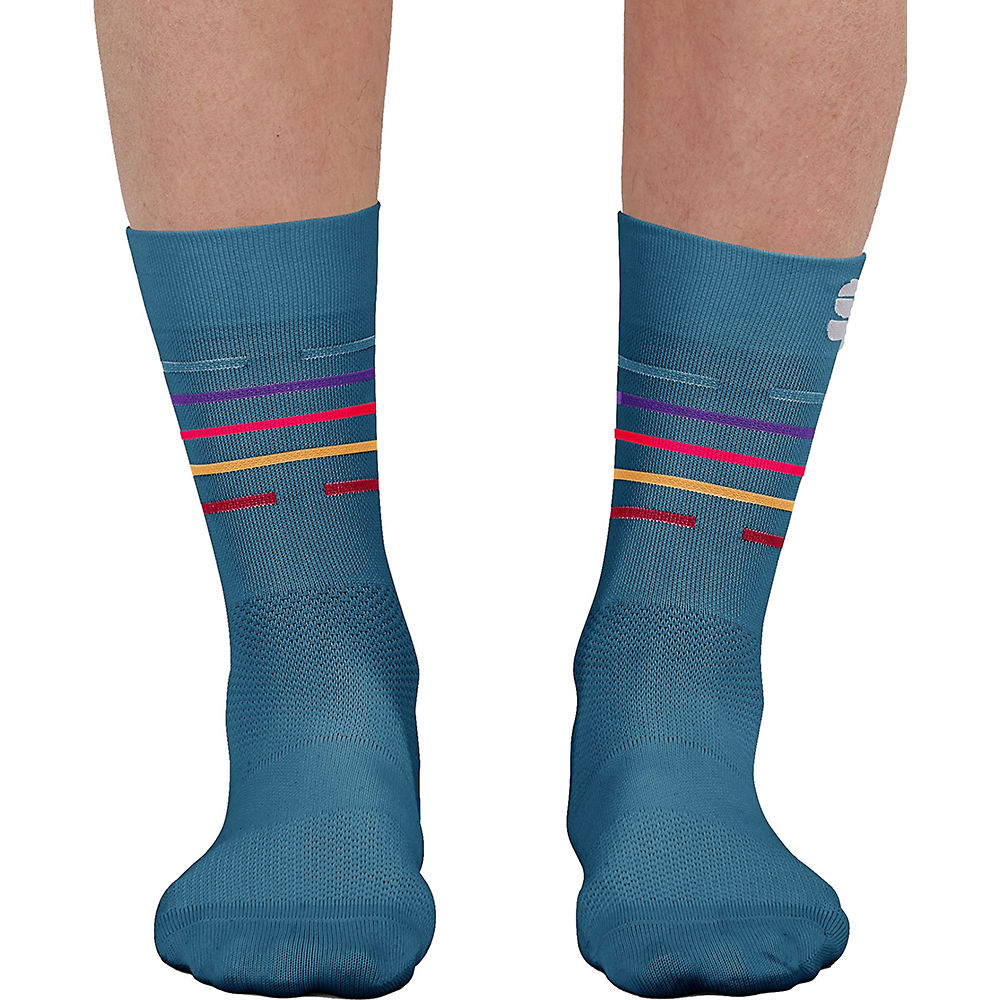 Sportful Womens Velodrome Cycling Socks Ss21 - Blue Sea-multicolor - S/m  Blue Sea-multicolor