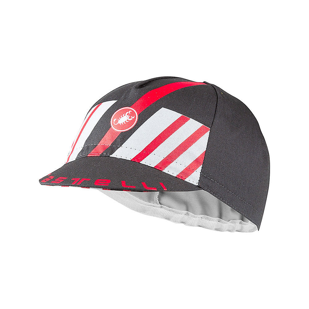 Image of Castelli Hors Categorie Cycling Cap SS21 - Dark Gray-Silver Gray-Red - One Size, Dark Gray-Silver Gray-Red