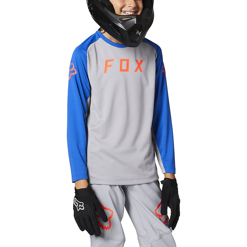 Fox Racing Youth Defend Long Sleeve Jersey 2021 - Steel Grey - M  Steel Grey