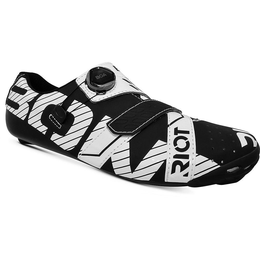 Bont Riot Road Plus Cycling Shoes (Wide Fit) 2021 - Black-White - EU 40.5, Black-White