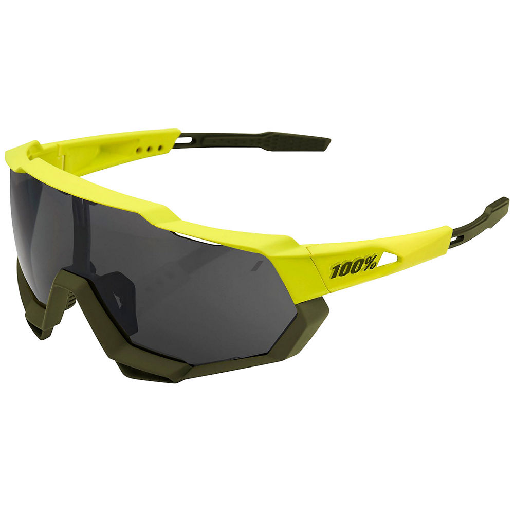 100% Speedtrap Soft Tact Banana Sunglasses - Black Mirror Lens, Black Mirror Lens
